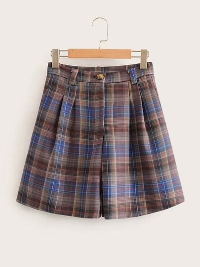 Tartan Wide Leg Button Detail Shorts