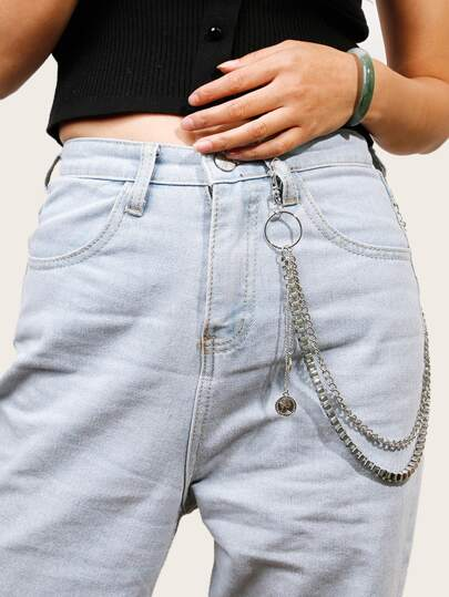 Coin Decor Layered Waist Chain Belt
