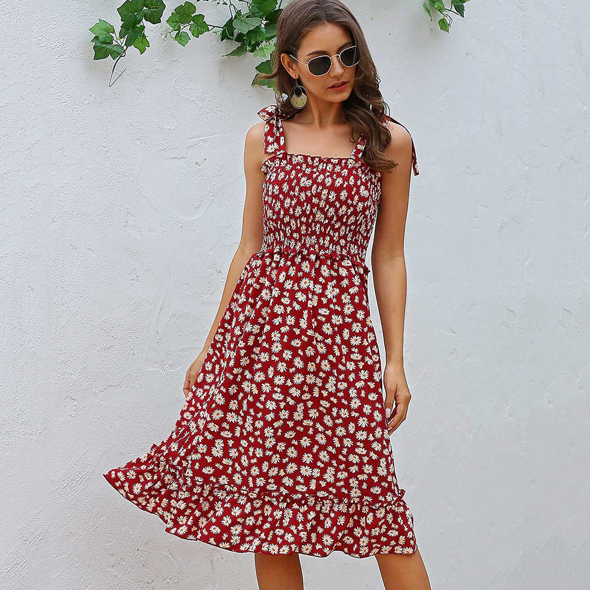 Tie Shoulder Shirred Daisy Floral Cami Dress