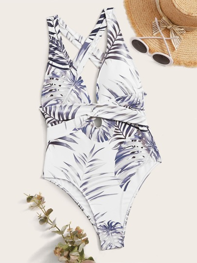 Tropical Tie Back One Piece Swimsuit