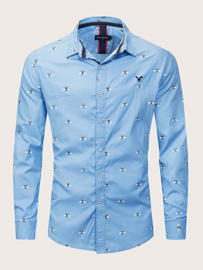 Men Bees Print Button Up Shirt