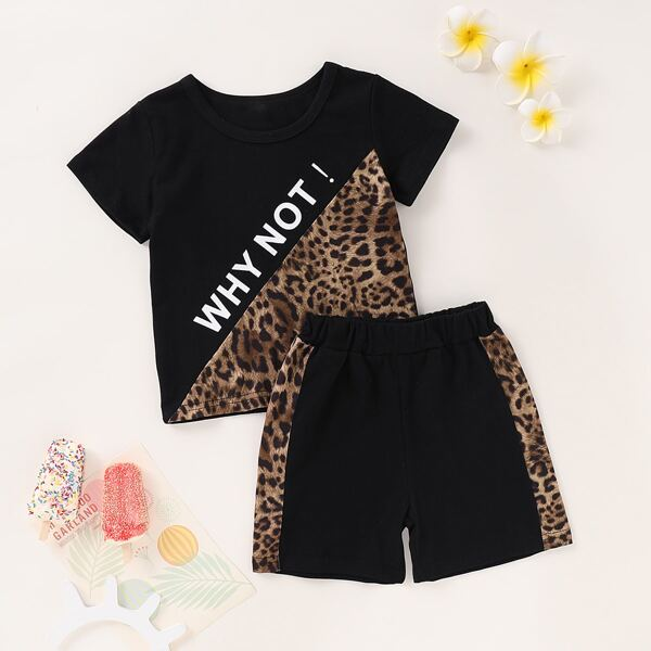 Toddler Boys Leopard And Letter Graphic Tee & Shorts, Multicolor