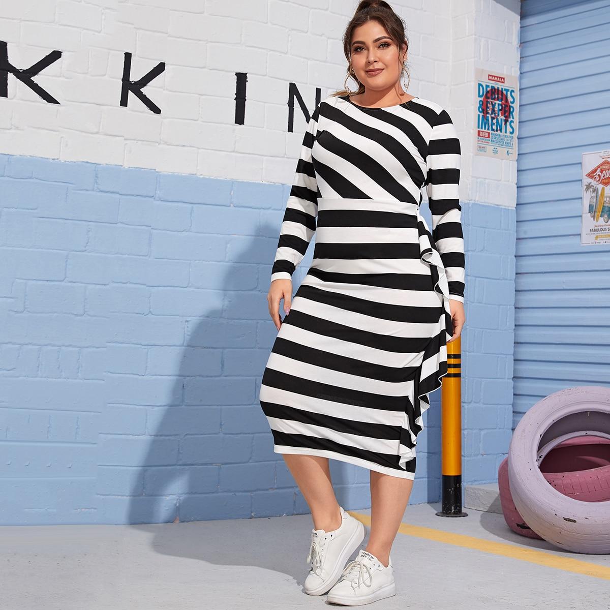 Plus Ruffle Trim Two Tone Striped Dress
