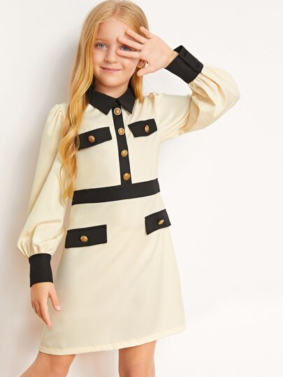 Girls Lantern Sleeve Button Front Dress
