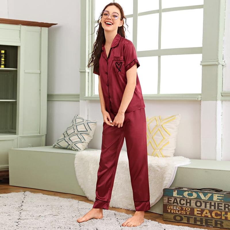 Heart Embroidery Contrast Piping Satin PJ Set, Burgundy