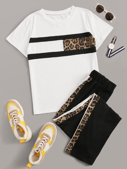 Contrast Leopard Panel Tee & Sweatpants
