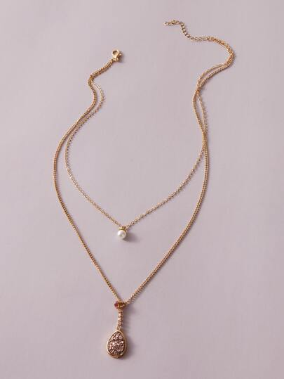 1pc Rhinestone & Pearl Pendant Layered Necklace