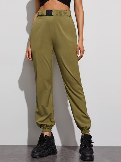 Self Tie Solid Carrot Pants