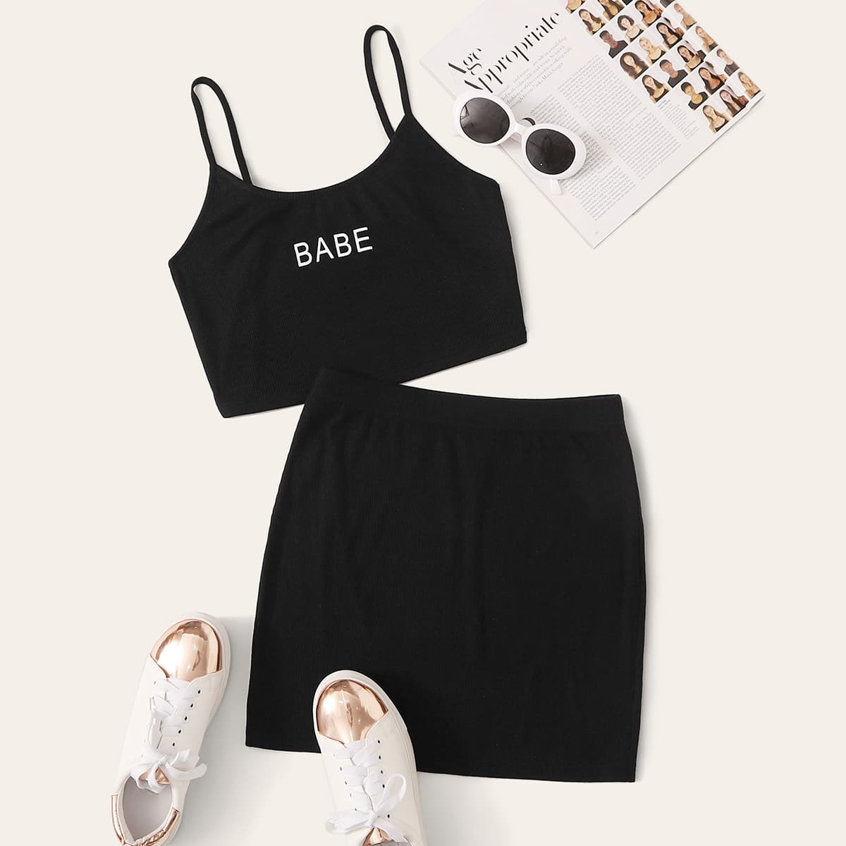Letter Graphic Rib-knit Cami Top & Skirt Set