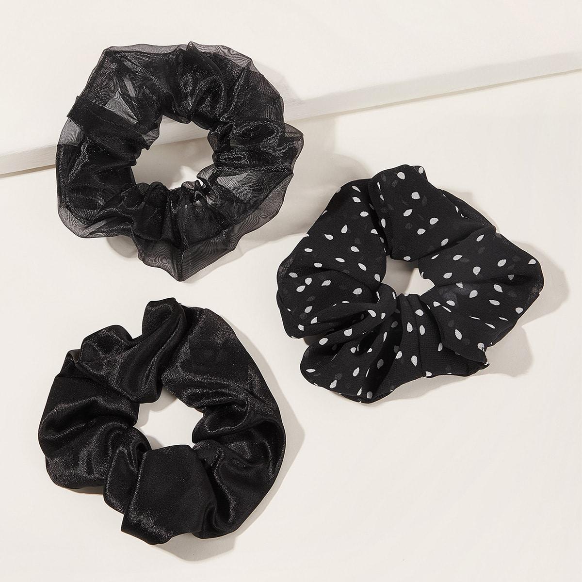 3pcs crumpled polka dot pattern scrunchie