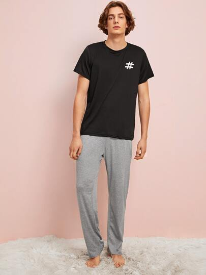 Guys Graphic Print Tee & Pants PJ Sets