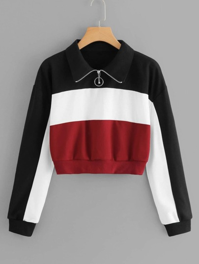 Color Block Zip Up Sweatshirt