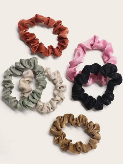 6pcs Solid Crumpled Scrunchie