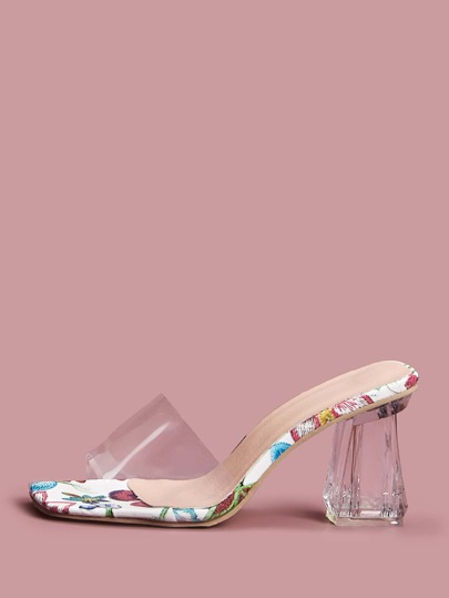 Clear Open Toe Chunky Heeled Mules
