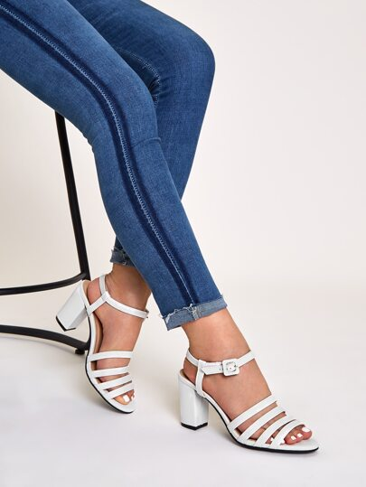 Open Toe Strappy Ankle Strap Chunky Heels