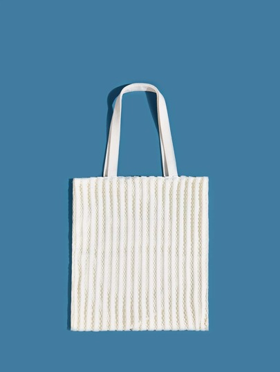 Minimalist Mesh Panel Shopper Bag