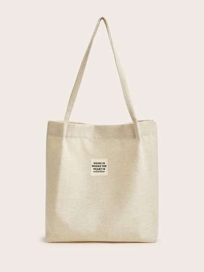 Slogan Patch Decor Tote Bag