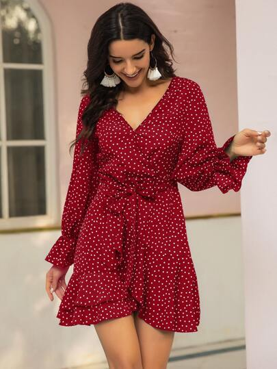 V-neck Polka Dot Keyhole Back Belted Dress
