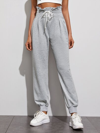 Lace Up Front Paperbag Waist Sweatpants