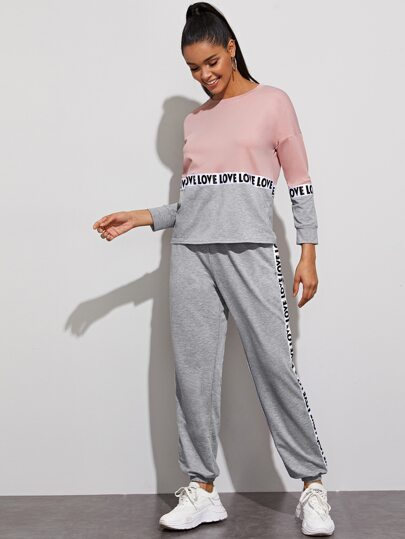 Color-block Letter Tape Sweatshirt & Sweatpants