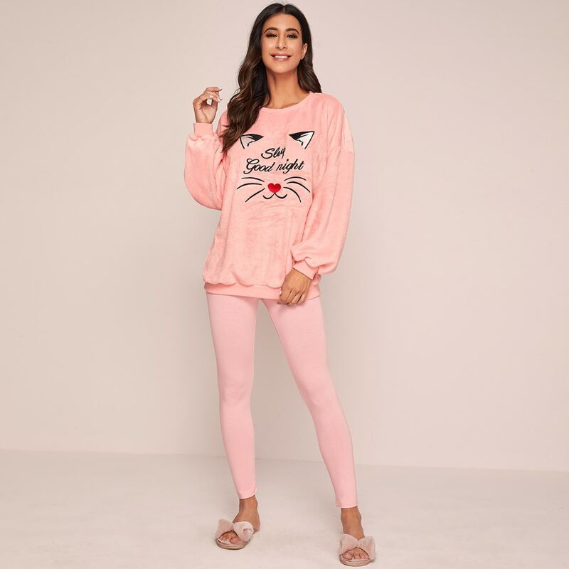 Slogan Embroidery Fuzzy Pullover & Leggings PJ Set, Pink