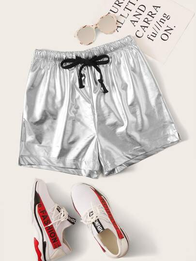 Reflective Drawstring Waist Wide Leg Shorts