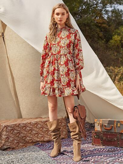 Paisley Print Shirred Neck Ruffle Smock Dress