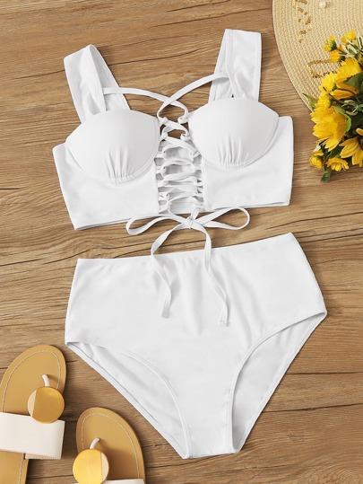 Lace Up Front Underwire Top With High Waist Bikini