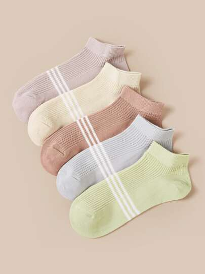 5pairs Striped Pattern Ankle Socks
