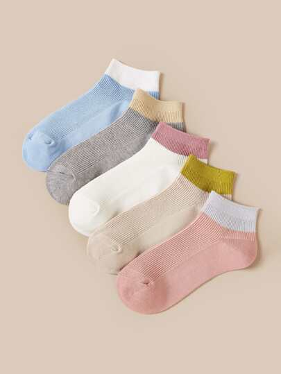 5pairs Color Block Ankle Socks