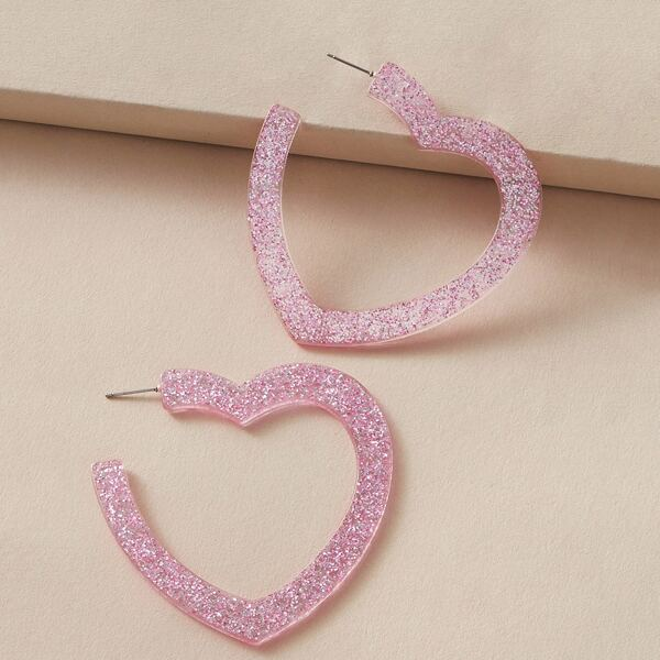 1pair Glitter Heart Shaped Open Hoop Earrings, Pink