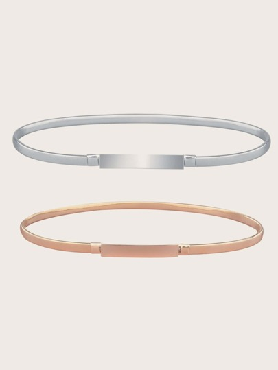 2pcs Solid Metallic Belt