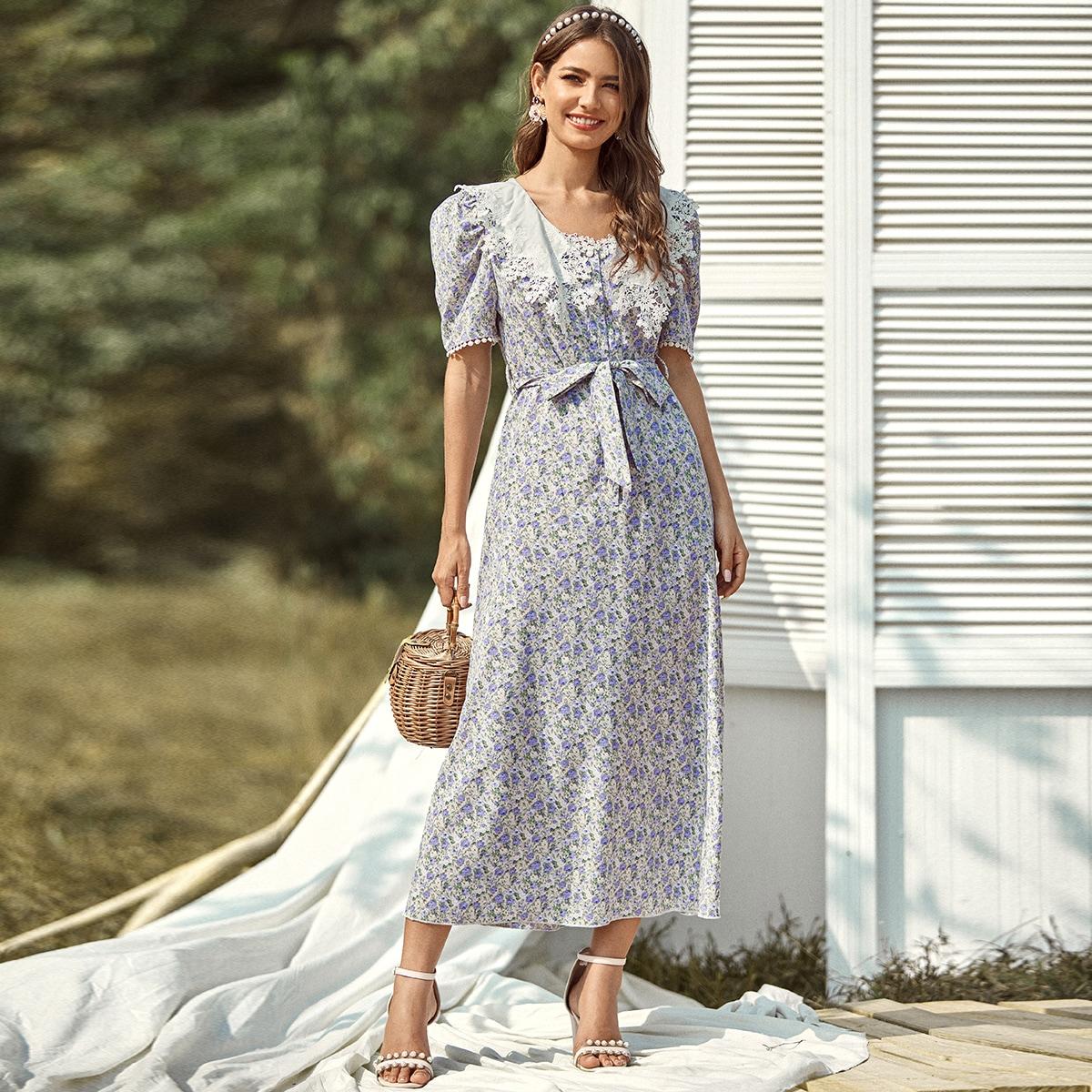 Цветочное кружевное платье с поясом