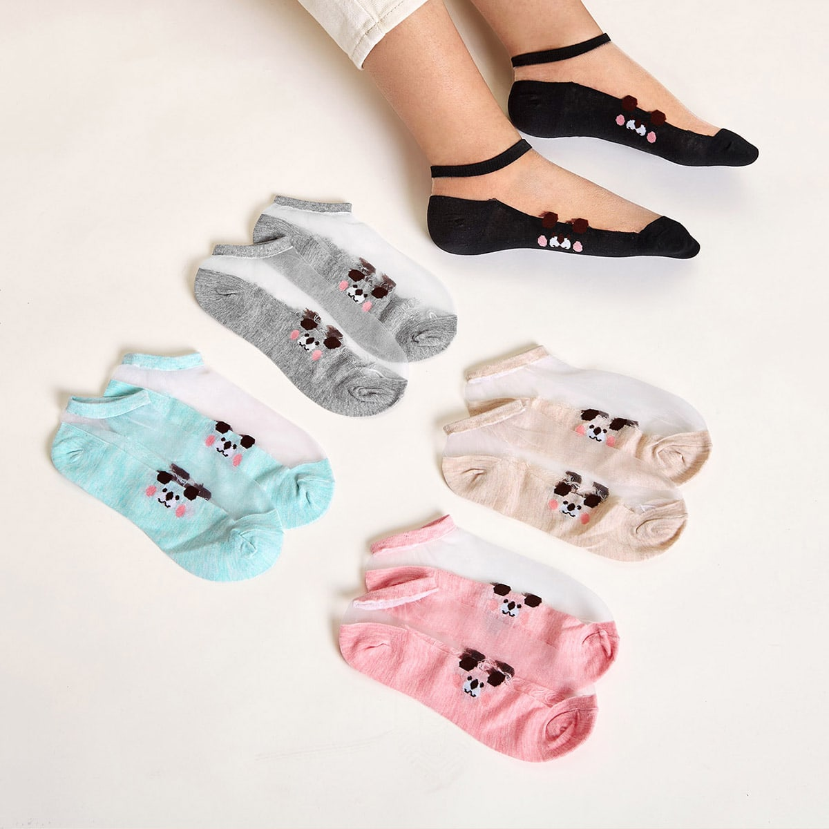 5pairs Dog Pattern Mesh Panel Socks