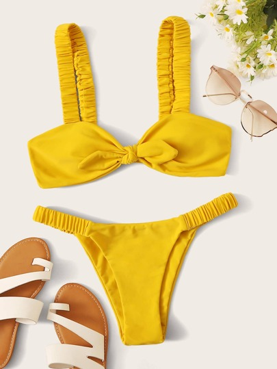 Knot Front Top With Thong Bikini Set