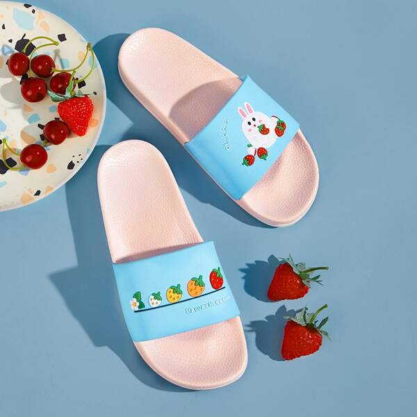 Girls Rabbit & Strawberry Graphic Open Toe Sliders, Blue