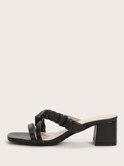 Ruched Cross Strap Open Toe Chunky Heeled Mules
