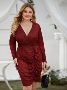 plus glitter surplice neck ruched dress