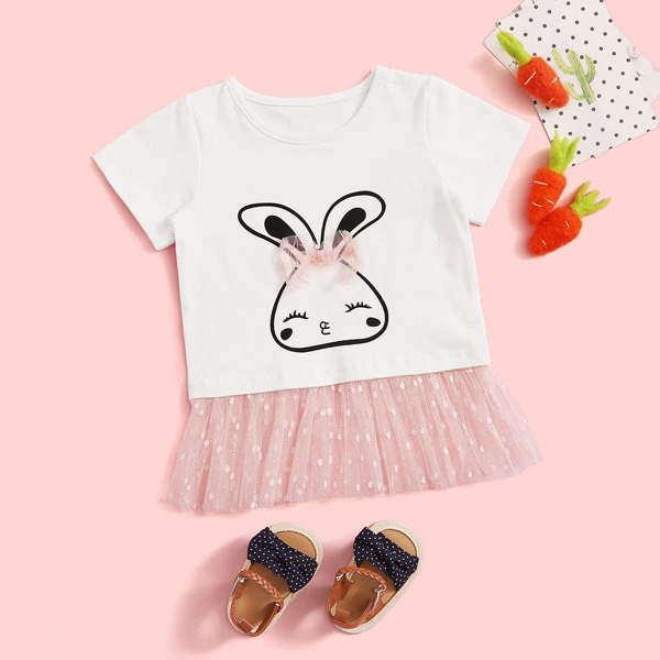Baby Girl Cartoon Graphic Contrast Mesh Hem Tee, White