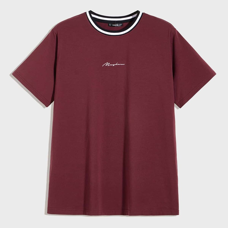 Guys Contrast Striped Neck Letter Graphic Tee, Burgundy