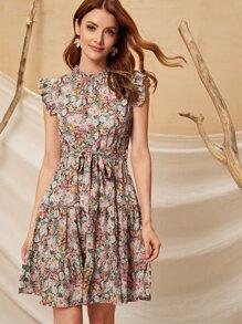 Floral Print Ruffle Hem Belted Dress - $18.95