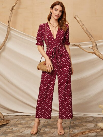 Ditsy Floral Flounce Sleeve Belted Jumpsuit