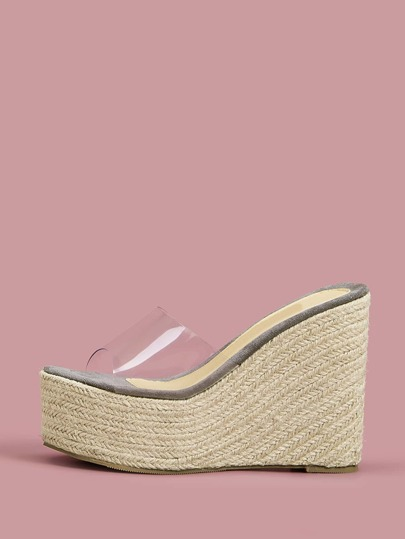 Open Toe Espadrille Wedges Mules