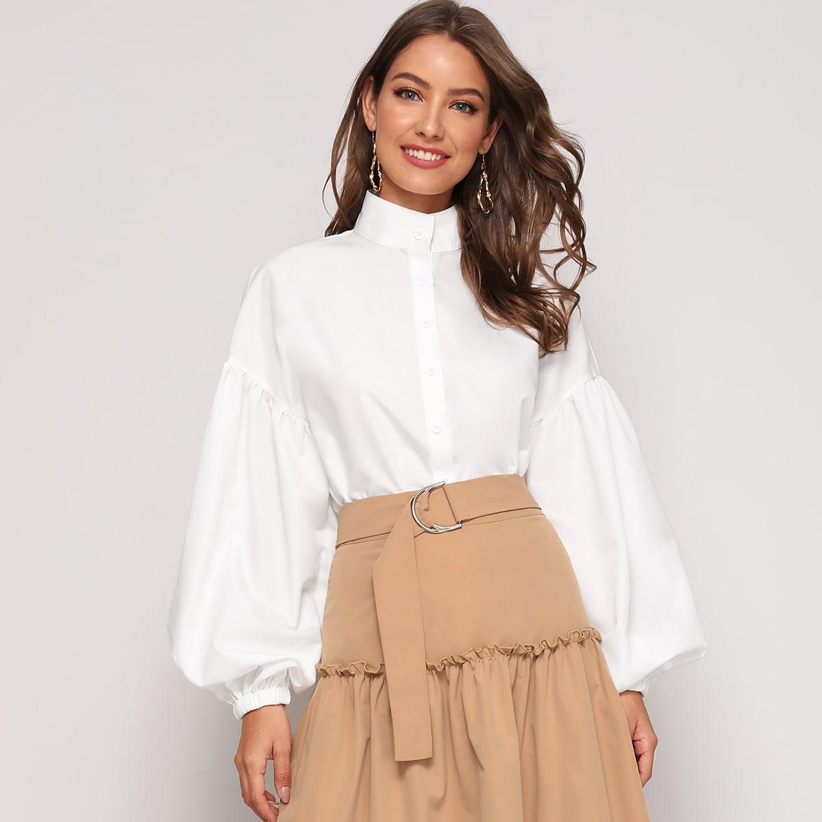 Блузка с воротником-стойкой и рукавом фонариком