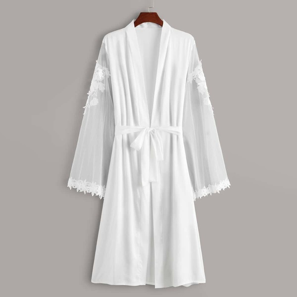 Appliques Mesh Sleeve Belted Satin Robe, White