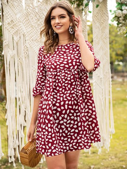 All Over Petals Print Babydoll Dress