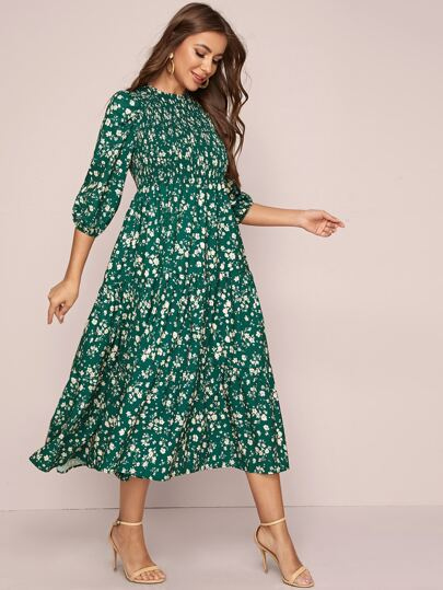Ditsy Floral Shirred A-line Dress