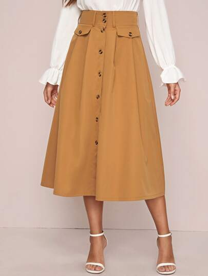 Button Through Fake Flap Pocket A-line Skirt