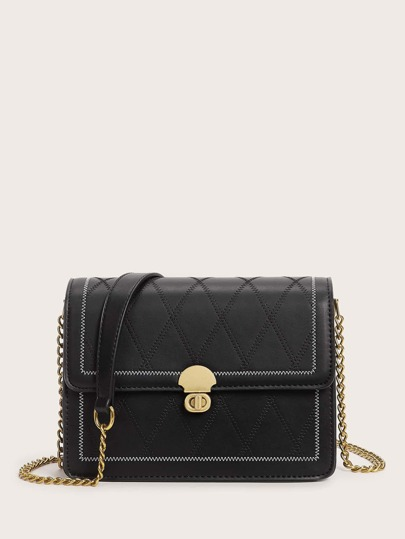 Twist Lock Stitch Detail Flap Crossbody Bag