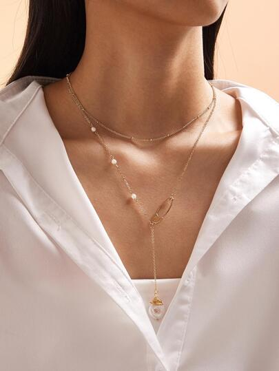 1pc Faux Pearl Pendant Layered Necklace
